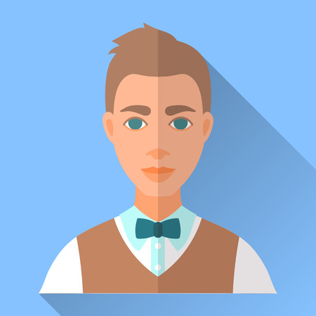 waistcoat: Blue trendy flat square wedding day fiance icon with shadow. Illustration of handsome future husband with short stylish brown hair wearing white shirt, brown waistcoat and blue bow tie.