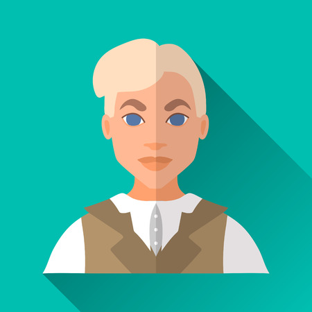 hombre: Turquoise blue flat style square shaped male character icon with shadow. Illustration of a young blonde aristocratic man wearing a white blouse and a vest. Illustration