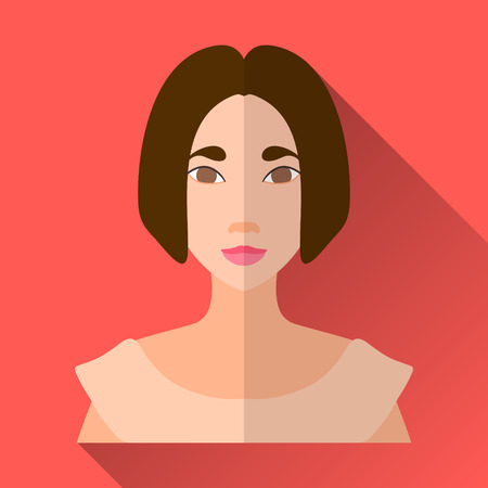 brown shirt: Orange flat style square shaped female character icon with shadow. Illustration of smiling asian young woman or a teenage girl with short brown hair wearing a simple beige shirt.