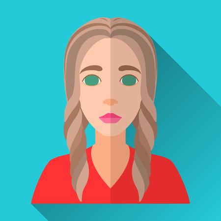 茶髪: ブルー フラット スタイルの四角形の影の女性キャラクター アイコン。赤いシャツを着て長い編まれた強調表示された茶色の髪の若い女性のイラスト。