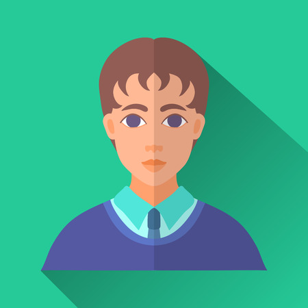 Green flat style square shaped male character icon with shadow. Illustration of a young schoolboy or a college student with brown hair wearing school uniform.