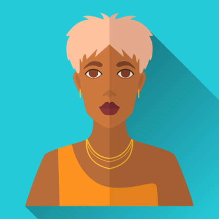 yellow dress: Blue flat style square shaped female character icon with shadow. Illustration of fashionable african american woman with short blonde stylish haircut wearing yellow dress and golden jewellery. Illustration