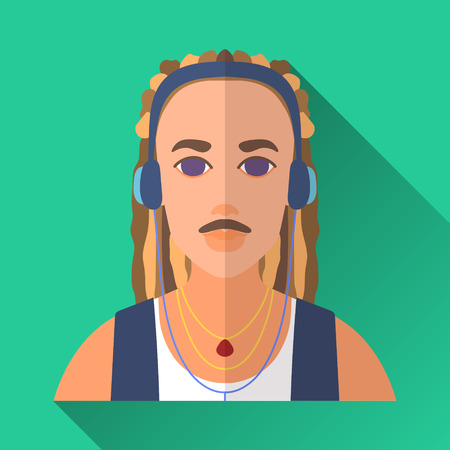 hombre: Green flat style square shaped male character icon with shadow. Illustration of a man with dreadlocks and moustache, in headphones listening to music. Illustration