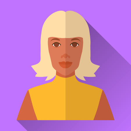 yellow hair: Purple flat style square shaped female character icon with shadow. Illustration of an attractive african american woman with blonde middle length hair wearing bright yellow night disco party dress.