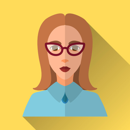 medium length: Yellow flat style square shaped female character icon with shadow. Illustration of an intelligent young business woman, teacher or student with brown medium length hair wearing a blue shirt and cat eye glasses. Illustration