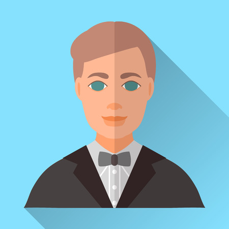Blue trendy flat square wedding day fiance icon with shadow. Illustration of handsome smiling future husband with stylish brown hair wearing black hipster suit, grey shirt and grey bow tie.