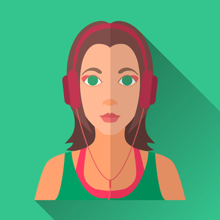 brown shirt: Green flat style square shaped female character icon with shadow. Illustration of beautiful young woman with long brown hair wearing green and pink sleeveless shirt in headphones listening to music.