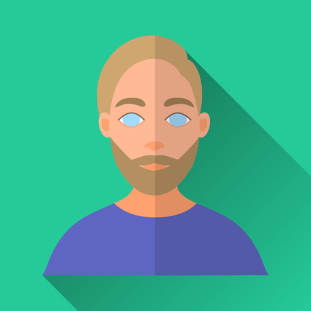 blue shirt: Green flat style square shaped male character icon with shadow. Illustration of a bearded hipster man with stylish moustache wearing a blue shirt. Illustration