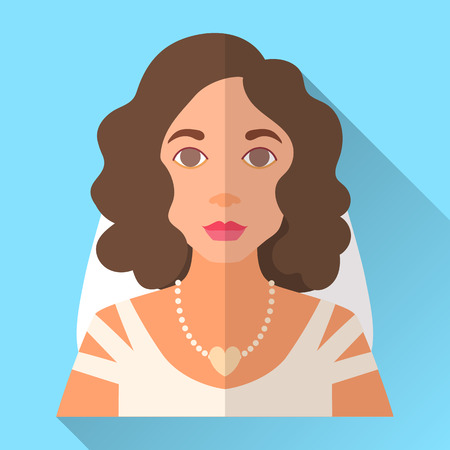 fiancee: Blue trendy flat square wedding day fiancee icon with shadow. Illustration of an attractive young bride with short curly brown hair wearing white dress, long veil and heart shaped necklace with pearls Illustration