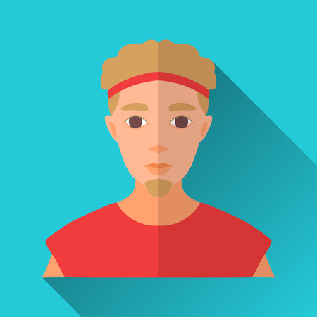 hombre: Blue flat style square shaped male character icon with shadow. Illustration of a young man in sport shirt and headband.