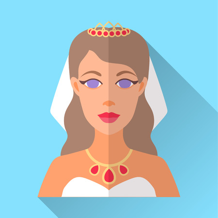 fiancee: Blue trendy flat square wedding day fiancee icon with shadow. Illustration of an attractive bride with long curly brown hair wearing white strapless dress, veil, golden diadem, necklace with diamonds.