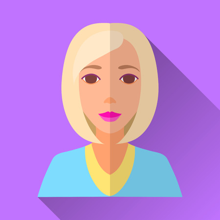 blue shirt: Purple flat style square shaped female character icon with shadow. Illustration of beautiful young woman with middle length blonde stylish haircut wearing blue shirt.