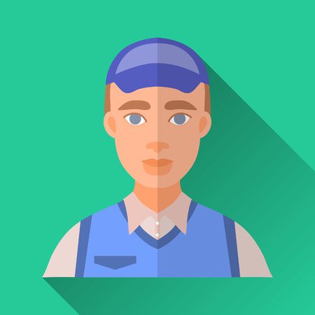 young worker: Green flat style square shaped male character icon with shadow. Illustration of a young worker man wearing corporate clothing: white shirt, blue vest and a cap.