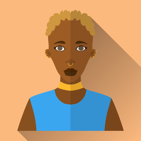 piercing: Orange flat style square shaped female character icon with shadow. Illustration of beautiful african woman with short white curly hair with septum and ear piercing wearing blue sleeveless shirt.