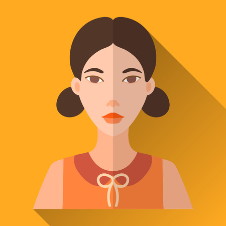 bobtail: Yellow flat style square shaped female character icon with shadow. Illustration of an attractive young fashionable asian woman with two bobtails wearing an orange sleeveless shirt with bow.