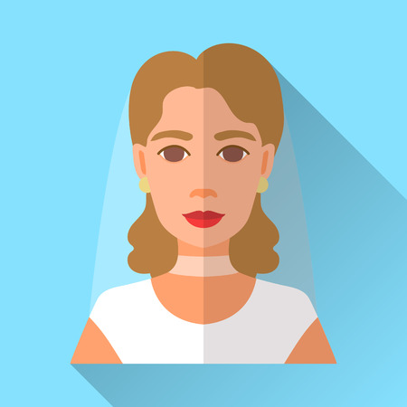 fiancee: Blue trendy flat square wedding day fiancee icon with shadow. Illustration of an attractive young bride with curly brown hair wearing retro style white dress, veil and golden earrings.