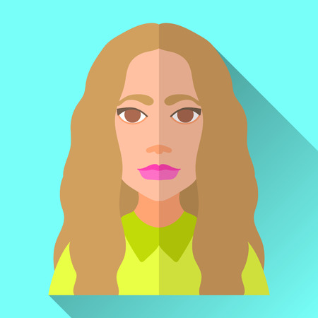 brown shirt: Blue flat style square shaped female character icon with shadow. Illustration of an attractive fashionable young woman with very long brown curly hair wearing a bright green shirt.