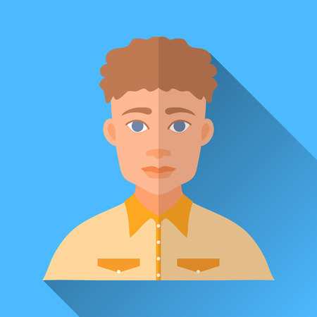 hombre: Blue flat style square shaped male character icon with shadow. Illustration of a young curly-headed stylish hipster man wearing a yellow shirt.