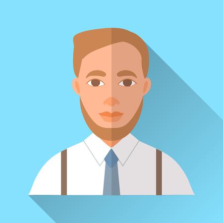 茶髪: 青いトレンディな平らな正方形の結婚式日婚約者アイコンの影。短いスタイリッシュな茶色の髪と白いシャツ、かっことブルーのネクタイを身に着けているひげのハンサムな流行に敏感な未来の夫のイラスト。  イラスト・ベクター素材