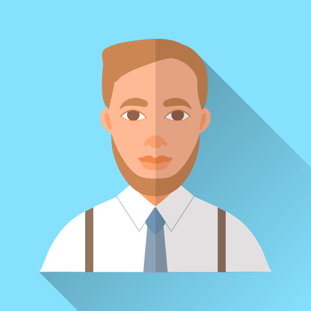 brown shirt: Blue trendy flat square wedding day fiance icon with shadow. Illustration of handsome hipster future husband with short stylish brown hair and beard wearing white shirt, braces and blue tie. Illustration