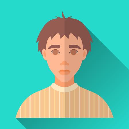 茶髪: ターコイズ ブルー フラット スタイルの正方形は影で男性キャラクター アイコン形。黄色のセーターを着ている茶色の髪の若い男のイラスト。