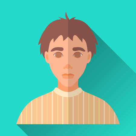 hombre: Turquoise blue flat style square shaped male character icon with shadow. Illustration of a young guy with brown hair wearing a yellow pullover.