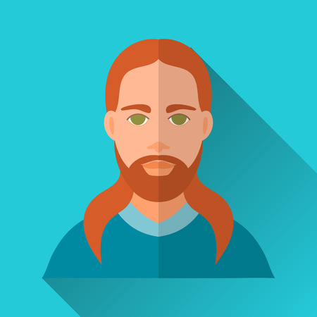 longhaired: Blue flat style square shaped male character icon with shadow. Illustration of a brutal ginger long-haired man with beard and moustache. Illustration