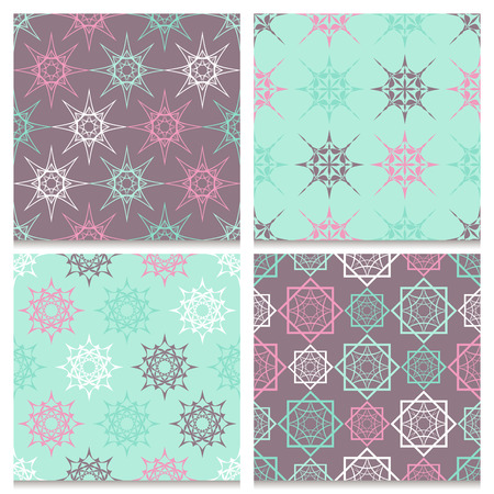 spiked: Set of four vintage seamless patterns. Spiked geometric elegant ornamental repeated pink, blue, brown and white elements on pale pastel mint blue and brown background. Calm retro color palette. Illustration