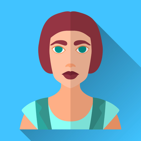bob: Blue flat style square shaped female character icon with shadow. Illustration of a fashionable young hipster woman with stylish short bob haircut wearing a shirt and a vest.