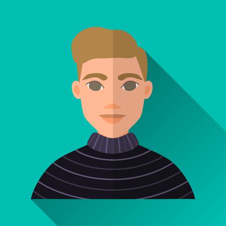 茶髪: ターコイズ ブルー フラット スタイルの正方形は影で男性キャラクター アイコン形。ストライプの黒のセーターを着ている茶色の髪のエレガントな若いヒップな男性のイラストです。
