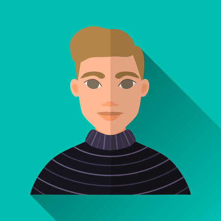 hombre: Turquoise blue flat style square shaped male character icon with shadow. Illustration of an elegant young hipster man with brown hair wearing a striped black sweater.