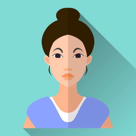 blue shirt: Blue flat style square shaped female character icon with shadow. Illustration of an attractive asian young woman or a teenage girl with black hair and bobtail hairdo wearing a simple blue shirt.