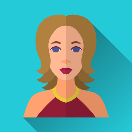 lenght: Blue flat style square shaped female character icon with shadow. Illustration of young woman with brown middle lenght hair wearing red dress. Illustration