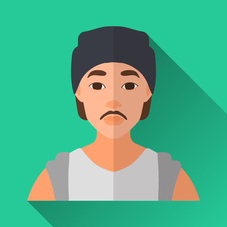 hombre: Green flat style square shaped male character icon with shadow. Illustration of asian hipster man with moustache wearing a cap and a white shirt with rolled up sleeves.