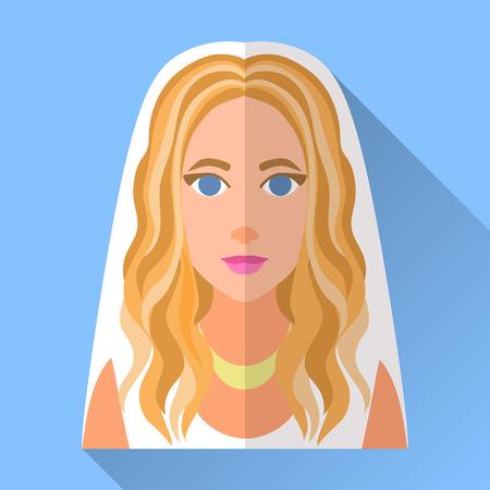 rubia: Azul moda icono prometida plana cuadrada día de la boda con la sombra. Ilustración de una novia atractiva, con largo y rizado destacó el pelo rubio con un vestido blanco sin mangas, velo y collar de oro. Vectores
