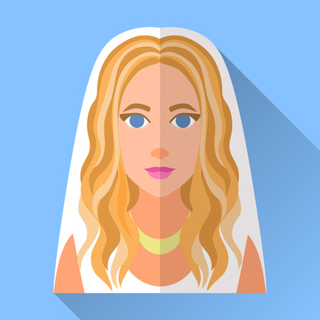 fiancee: Blue trendy flat square wedding day fiancee icon with shadow. Illustration of an attractive bride with long curly highlighted blonde hair wearing sleeveless white dress, veil and golden necklace. Illustration