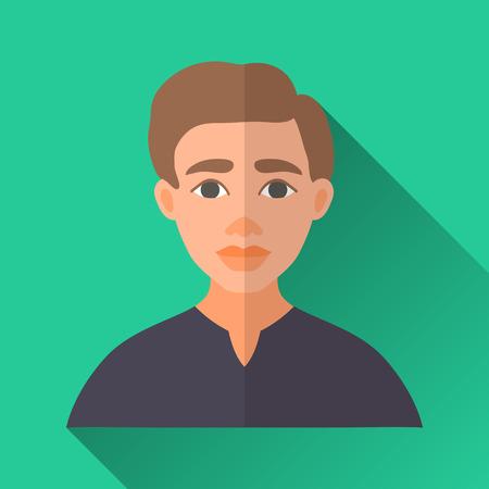 茶髪: グリーン フラット スタイルの四角形の影の男性キャラクター アイコン。黒いシャツを着て茶色の髪の若い男性のイラスト。