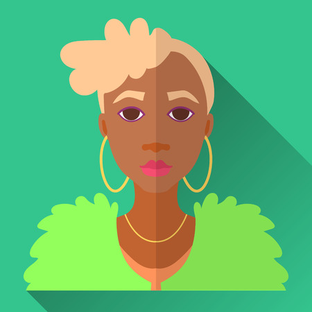 fur coat: Green flat style square shaped female character icon with shadow. Illustration of fashionable african american woman with short blonde stylish haircut wearing green fur coat and golden hoop earrings. Illustration