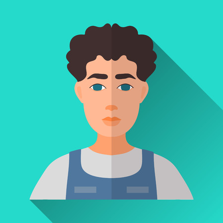 hombre: Turquoise blue flat style square shaped male character icon with shadow. Illustration of a man with curly black hair wearing work uniform. Illustration