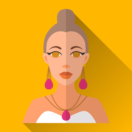 bobtail: Yellow flat style square shaped female character icon with shadow. Illustration of an attractive young woman with bobtail hairstyle wearing white wedding or party dress and jewellery. Illustration