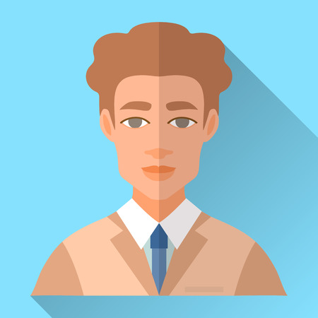 fiance: Blue trendy flat square wedding day fiance icon with shadow. Illustration of handsome future husband with short curly brown hair wearing light brown hipster suit, white shirt and blue tie. Illustration