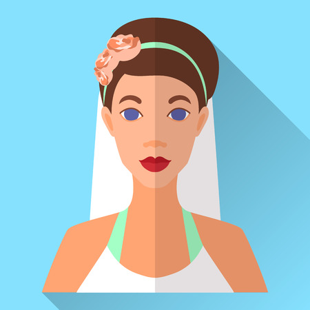 Blue trendy flat square wedding day fiancee icon with shadow. Illustration of an attractive bride with beautifully pinned brown hair wearing floral headband, white open shoulder dress and veil. Illustration