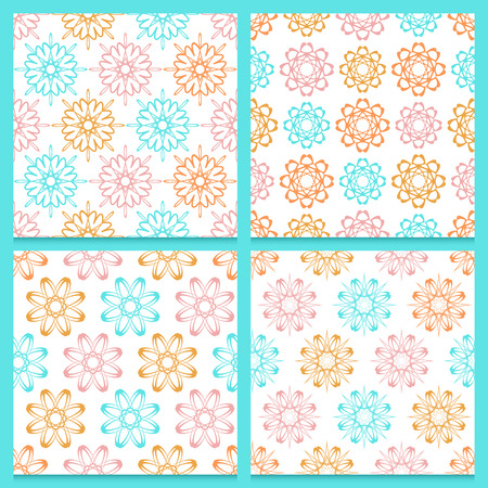 Set of four beautifully composed stylish vintage patterns with repeated abstract geometric flowers. Blue, pink and orange blooming flowers isolated on white background. Soft and joyful feminine colors.