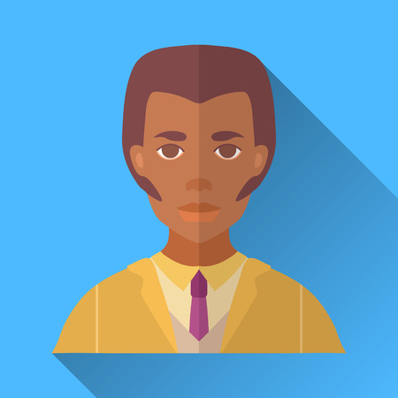 hombre: Blue flat style square shaped male character icon with shadow. Illustration of an african american man with whiskers and stylish haircut wearing a yellow suit and a tie.