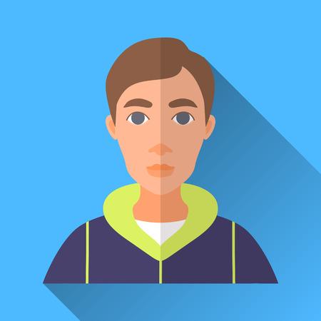 茶髪: ブルー フラット スタイルの四角形の影の男性キャラクター アイコン。スポーツ服を着て茶色の髪の若い男性のイラスト。  イラスト・ベクター素材