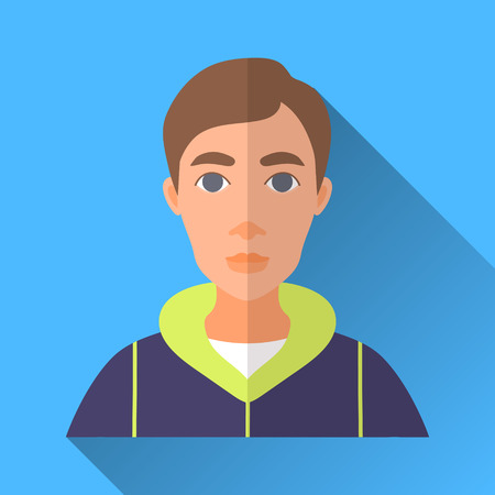 sport wear: Blue flat style square shaped male character icon with shadow. Illustration of a young man with brown hair wearing a sport wear.