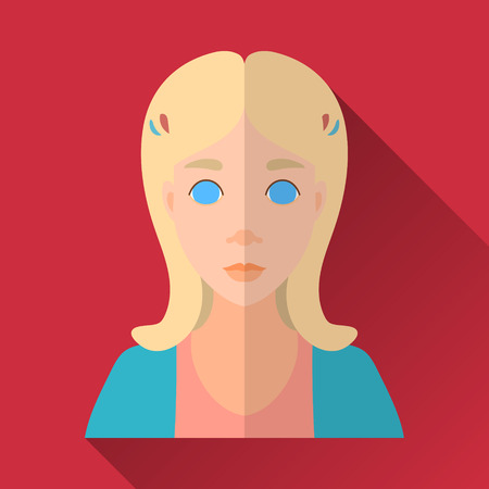 cardigan: Red flat style square shaped female character icon with shadow. Illustration of a cute little girl with blonde middle length hair wearing orange shirt and blue cardigan.