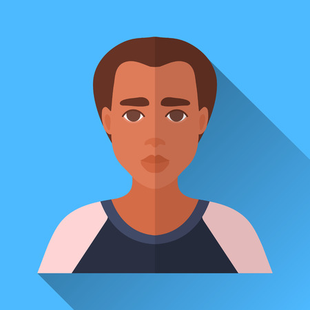 adolescent african american: Blue flat style square shaped male character icon with shadow. Illustration of a young african american man in black and white shirt. Illustration