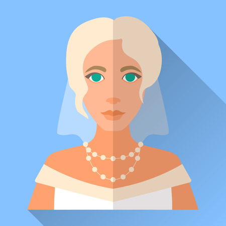 fiancee: Blue trendy flat square wedding day fiancee icon with shadow. Illustration of an attractive blonde bride with stylish hairdo wearing white open shoulder dress, veil and pearl necklace. Illustration