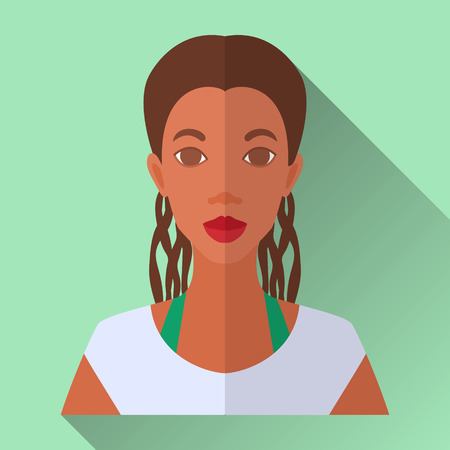 brown shirt: Green flat style square shaped female character icon with shadow. Illustration of an attractive smiling young african american woman with long braided brown hair wearing white shirt.
